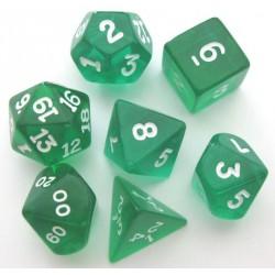 Set de 7 Dés - Transparent - Vert/Blanc
