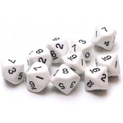 Set de 10 dés 10 - Opaque - Blanc/Noir