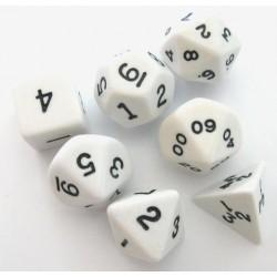 Set de 7 dés - Opaque - Blanc/Noir