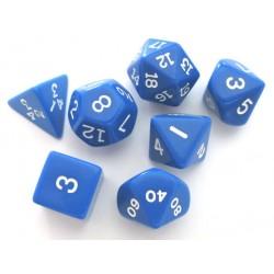 Set de 7 dés - Opaque - Bleu/Blanc
