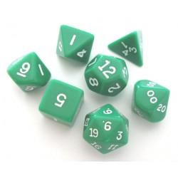 Set de 7 dés - Opaque - Vert/Blanc
