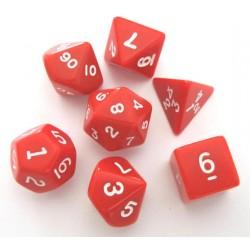 Set de 7 dés - Opaque - Rouge/Blanc