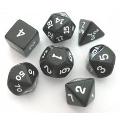Set de 7 dés - Opaque - Noir/Blanc