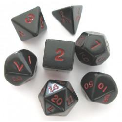 Set de 7 dés - Opaque - Noir/Rouge