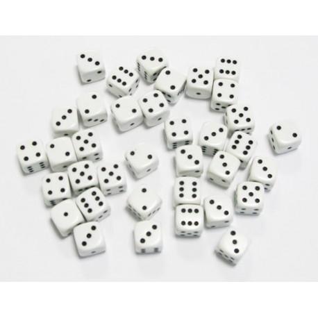 Set de 36 Dés 6 - Opaque Blanc